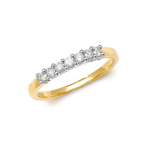 Diamond 7 stone prong set 9ct yellow gold 0.25 ct,H color, SI2,topjewelleryuk,topjewellery birmingham