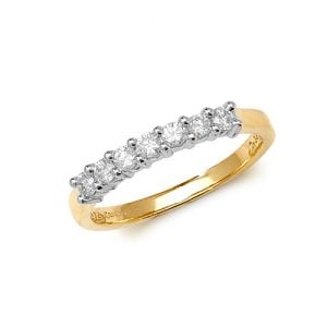 Diamond 7 stone prong set 9ct yellow gold 0.33 ct,H color, SI2,topjewelleryuk,topjewellery birmingham