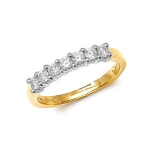 Diamond 7 stone prong set 9ct yellow gold 0.50 ct,H color, SI2,topjewelleryuk,topjewellery birmingham
