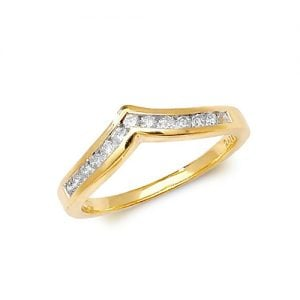 Diamond Wishbone chanel set 9ct yellow gold 0.25 ct,H color, SI2,topjewelleryuk,topjewellery birmingham