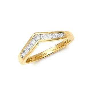 Diamond Wishbone chanel set 9ct yellow gold 0.33 ct,H color, SI2,topjewelleryuk,topjewellery birmingham