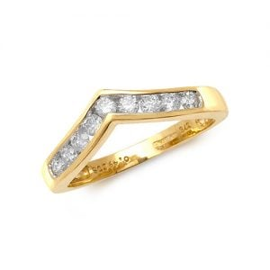 Diamond Wishbone chanel set 9ct yellow gold 0.50 ct,H color, SI2,topjewelleryuk,topjewellery birmingham