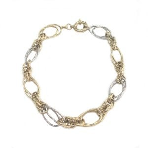 Fancy-Two-Colore-Ladies-Small-Oval-Belcher-Bracelet-9ct18ct14cttopjewellerytopjewellerytopjewelleryukBirminghamJewellery-Quarter.5